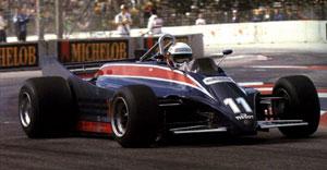 de Angelis practicing the car at Long Beach, 1981.