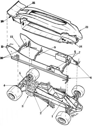 Racing magazines of the time illustrated the 'twin chassis' concept.