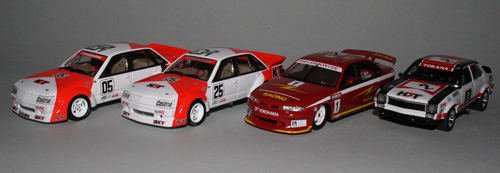 efore and after application of after market tobacco decoration to a brace of Biante 1/43 models - 1984 Bathurst VK Commodores, 1995 Skaife/Richards VR and 1976 John Harvey LH Torana.