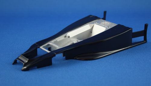 The main monocoque section after masking and spraying. The Tamiya TS55 Dark Blue looks almost black!