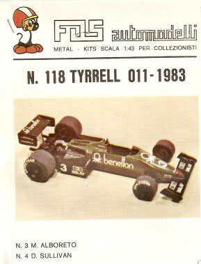 I found this pic on the internet - the FDS instruction sheet showing a completed example. There were a few different variations of the '011 during the 1983 season. My version will be as per FDS modeled, which I believe is from very early in the year: the rear wing top element is black (not green), the body is all green (in some races the bottom half of the monocoque sides were black), the exhausts exit low, under the driveshafts (in most photos of the real car, they exit over the top of the rear suspension). I think FDS got the rear suspension wrong as the model has top rocker arms suitable for springs mounted behind the driveshaft, whereas the 011 had the rocker arm and spring in front of the driveshaft. Tameo has also modeled this car and it is a far superior version with a better and more accurate casting, the high exhausts, correct suspension, etc.