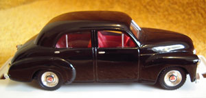 "The donor model is Trax TR15, a Holden 48/215 ""FX"" in black, 1:43 scale. The project is to turn it into a representation of the car David Price once raced. Current market value of this model is AUD$125 (Ref: Trax Models book, 1986-2005 Edition) so doing a Code-3 modification is a significant undertaking."