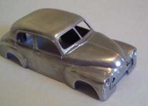 Paint stripper easily removed the factory black finish. While they might have been lacking in detail, some of the earlier Trax models usually had pretty good paint, as this model did. The body was then lightly scuffed with fine wet-&-dry and polished with a soft brass brush.