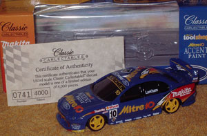 I used a 1/43 Mark Larkham Mitre 10 car from the 2000 season as the donor (a very good looking model itself).