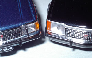 Nose detail of the VCs. Biante (left) has headlight wipers. Trax still have that annoying injection-mould stem dot in the middle of their clear parts - shame!