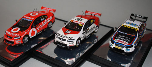 (L to R) the race winning Whincup/Dumbrell #1 car; Lowndes/Luff #888 in Brock retro livery; Winterbottom/Richards #5 in Moffat '77 retro livery