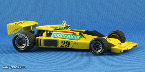 As far as I can tell, Emmo always ran this car with the transparent yellow windscreen, whereas Hoffmann used a dark blue tint version (and black mirrors) which is easier to replicate with this FDS model. I considered adding some side skirts as the FD04 usually ran them in 1977, but yet to find a material and adhesive that will work in unison.