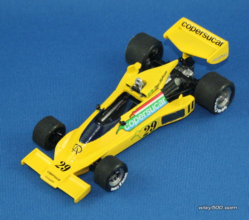 Done! I decided at the last minute to do the Ingo Hoffmann #29 version the Brazilian raced at the two South American GPs at the start of the season. Fittipaldi drove this car in the opening seven races before switching to the new F5 for the last half of the season. Spark are doing the F5, so I'll get that for Emmo's '77 ride. I also polished the rims a bit, sanded the tread of the rubber tyres and applied new Goodyear decals (well, three of the four wheels got a new decal).