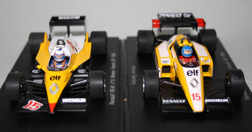 Renault RE40 (Alain Prost, 1983 left) and RE50 (Patrick Tambay, 1984 right). These drivers were personally sponsored by Marlboro, so Spark provided the miniature decals for on their helmets