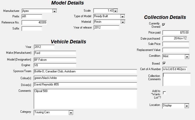 A screen capture of a typical record in my model database, made using Microsoft Access