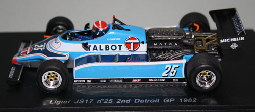 Ligier JS17 that was run in the first part of 1982. This is the car driven by Eddie Cheever at the Detroit GP where it raced without the engine cover to help with cooling.