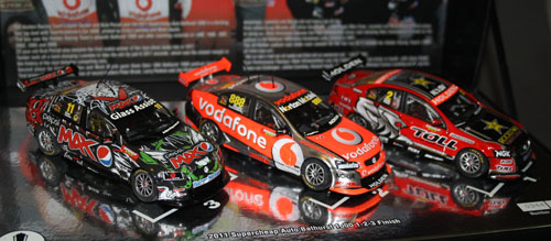 2011 Bathurst Podium Triple Set from Classic Carlectables. The only reason I bought this was to get the Pepsi MAX car as that particular livery was never released as a standalone offering. Tragically, the model is now significant because it was co-driven by Allan Simonsen who was killed at Le Mans this year. The triple-set also meant I got the Bathurst winner (which could have been purchased separately anyway), but as I already had a Whincup Vodafone car, the 2nd placed Lowndes/Skaife is surplus to the collection (now destined to be Code 3 material??).