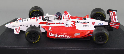 The 'before' shot. This Onyx version does not have the correct sidepod profile or engine-cover fin the Newman-Haas team ran. Also, front wings are white (they should be red) and there's a white strip on the rear wing. Despite this being the 'speedway' version, the markings are more reflective of how this car ran in road course configuration.