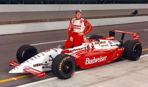 The Real Car: Paul Tracy in the traditional qualifying photo at Indianapolis, 1995. Minichamps did a 1:18 model of Tracy's '95 ride, but it was the road-course version.