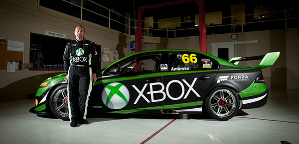 Marcos Ambrose and the Xbox FG Falcon he'll race in Sydney for DJR Team Penske