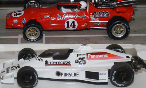 1967 Indy 500 winner AJ Foyt #14 (Spark), 1980 Porsche test car of Danny Ongias (TSM)