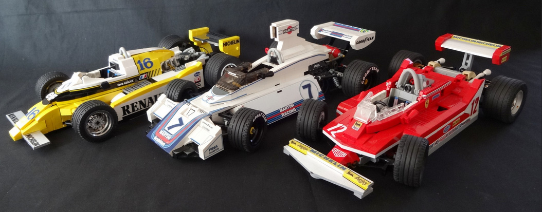 Formula One cars built from Lego