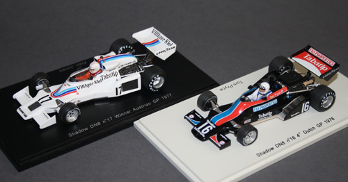 Finally, what makes these two Shadows so special? Villiger Tabatip is a tobacco company, but the models (Alan Jones DN8, 1977 in white, Tom Pryce's 1976 DN8 in black) come with the decals already applied. Saves the collector doing it!