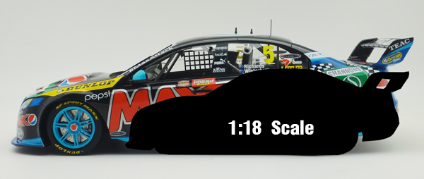 The 1:12 prototype in comparison to a typical 1:18 V8 Supercar
