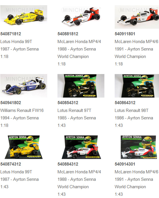 Ayrton Senna Racing Car Collection items