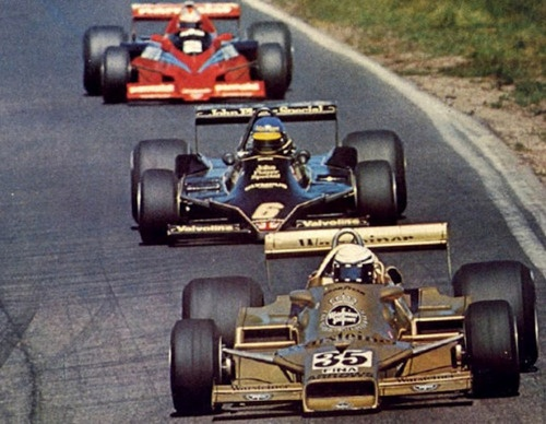 Patrese in the Swedish Grand Prix of 1978. Note the stance of the car and the angle of the front suspension