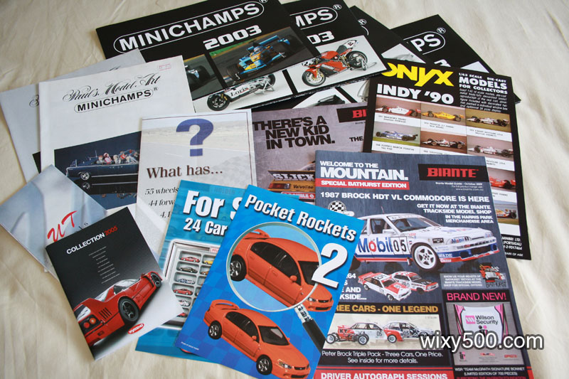 •Mixed model car brochures/cataloges/posters – Biante, Minichamps, UT, Kyosho