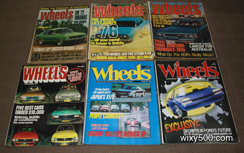 Wheels magazine, mixed issues from 1972 to 1986