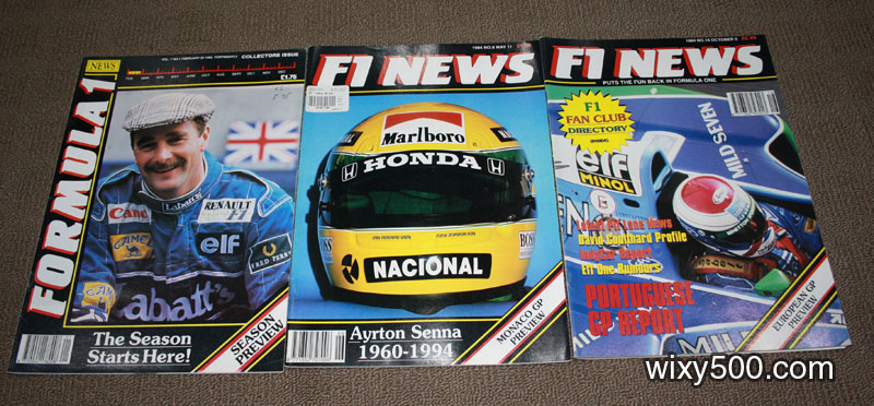 Formula One News (Vol 1, No 1, 25 February 1992), F1 News - #6 (11 May 1994, Senna/Imola issue), F1 News - #16 (5 October 1994)