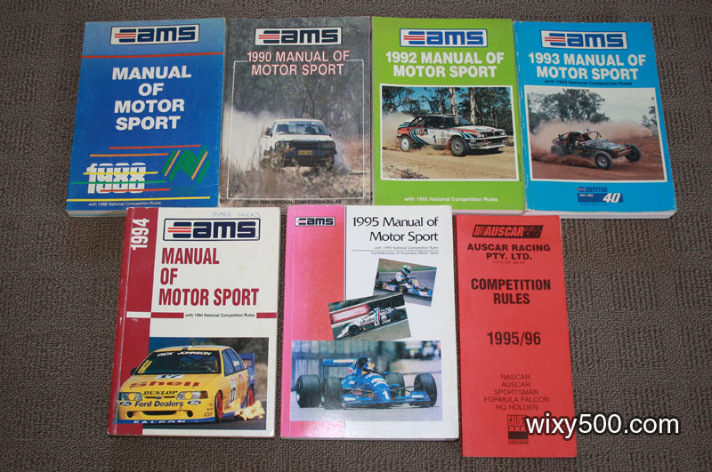 CAMS Manual of Motorsport (rule book) - 1988, 1990, 1992, 1993, 1994, 1995. AUSCAR Rule Book 1995/96