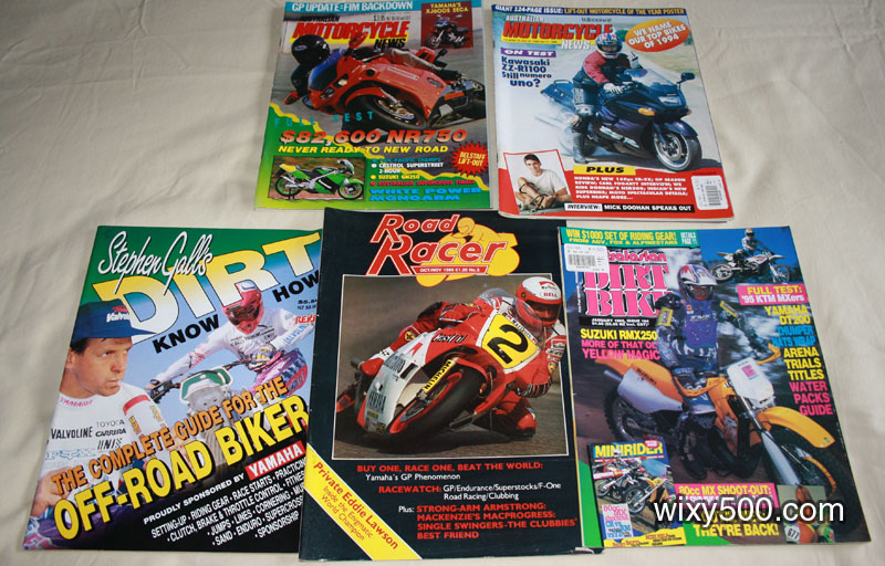 Road Racer – #3 Oct/Nov 1986, Stephen Gall's DIRT Knowhow, Australian Motorcycle News – Vol 41, No 14 (Nov 29 – Dec 12 1991), Vol 44, No 16 (16 Dec 1994 – 12 Jan 1995), Australian Dirt Bike – January 1995 (issue #184)