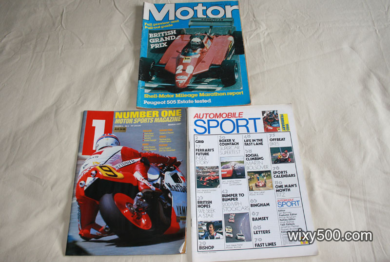 Motor (w/e July 17, 1982), Automobile Sport (February 1983, no cover), Number One Motor Sports Mag (March 1987)