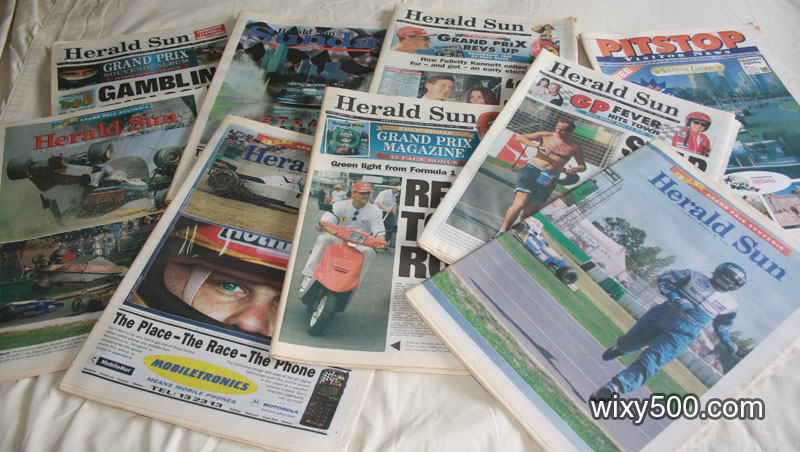 All the daily Herald-Sun newspapers from the first AGP in Melbourne, 1996. Includes pre-race editions in the lead up, race day and post-event.