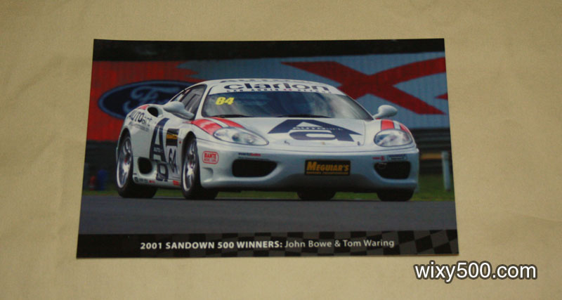 2001 Sandown 500 winner postcard (Ferrari 360C John Bowe/Tom Waring)