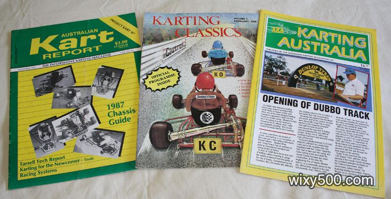 Australian Kart Report #95 Nov 1987, Karting Classics #1 1988, Karting Australia 1st edition 1993 (official AKA magazine)