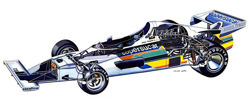 An interesting cutaway of the FD01 showing internals of the race car. this illustration is of the modified race version which had extra cooling (extra radiators in front of the rear wheels)