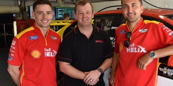 Biante's William Hall with DJR Team Penske drivers Scott Pye and Fabian Coulthard at the Clipsal 500