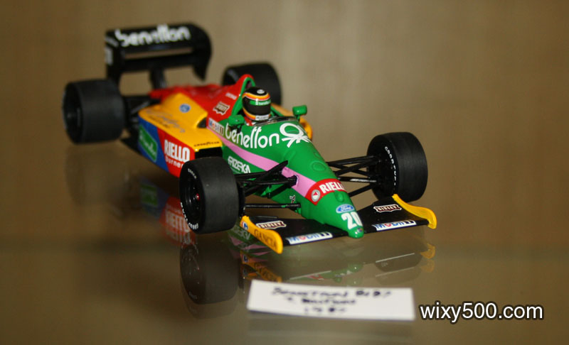 Minichamps Benetton B187 of Thierry Boutson, displayed sans plinth. This allowed models to be placed very close to each other, even interlokcing wheels to fit more cars across the shelf. It did look rather crowded.