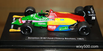 To get an F1 Minichamps display in alginment with teh base requires the locating lug to be cut off the plinth. This Benetton,once straighten up, screwed down without issue and, in my opinion, display well. Car/driver information was printed on paper and glued to the base with PVA glue.