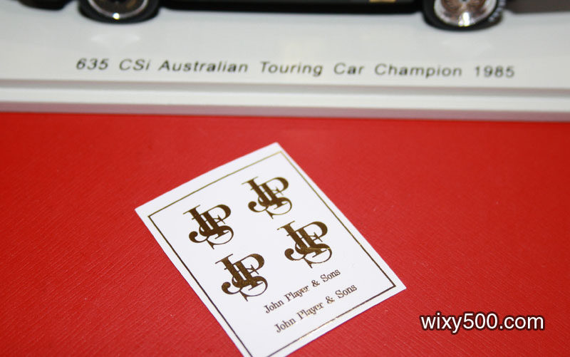 Decal card for the naught John Player Special t'baccy decoration