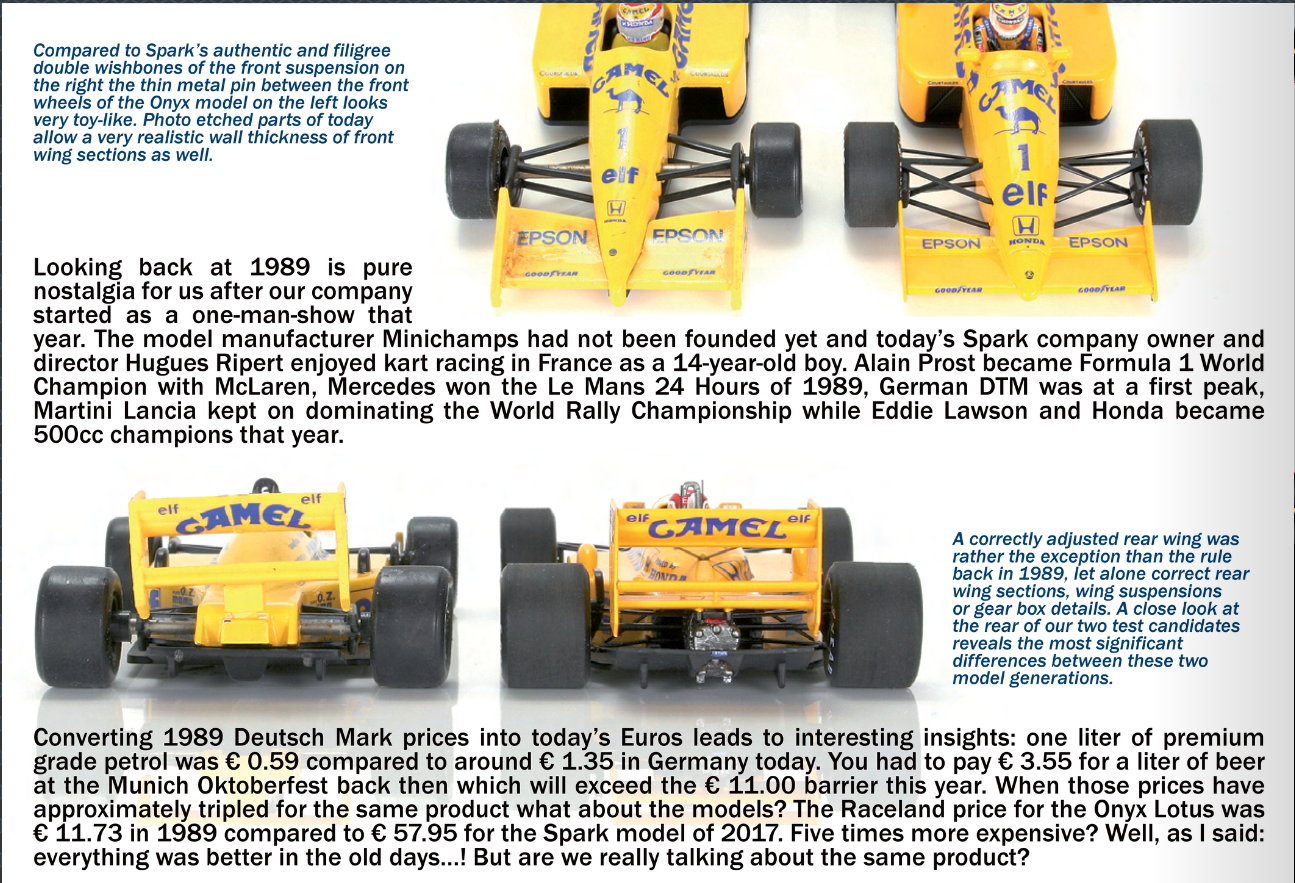 Lotus 100T Honda Nelson Piquet , Onyx v Spark 1/43