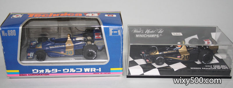 1977 Wolf WR1 by Technica/Eidai (left) and Minichamps (right)