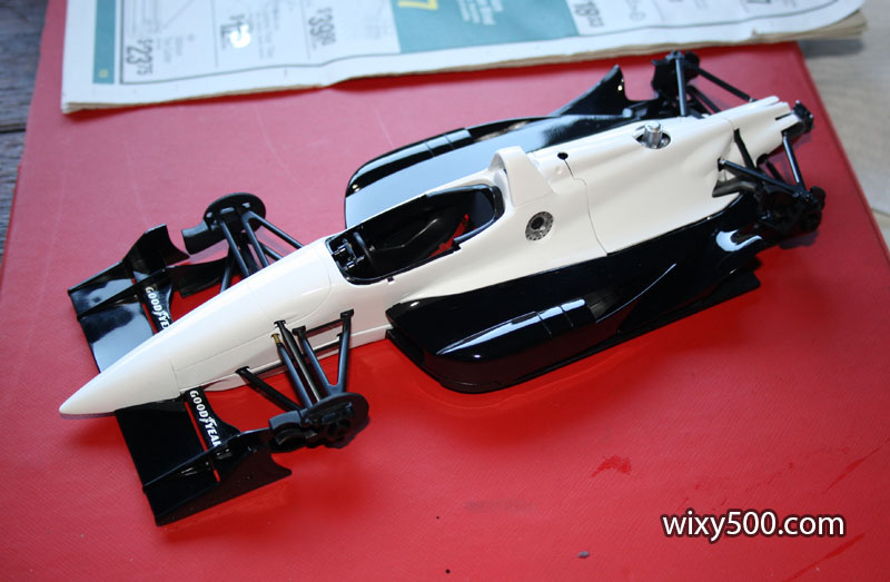 The re-fueling side. The kit allows the fuel coupling nozzle to be fitted either side (with a blank plug for the opposing side) so the modeler can build the car for a specific race if they wish.