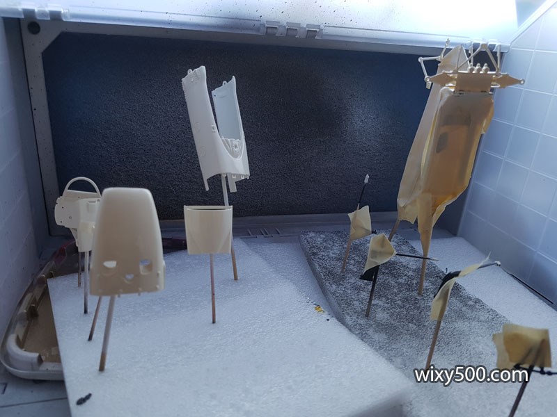 Second shot of body colour drying. I've mixed a little Tamiya TS-26 'Pure White' with the recommended Tamiya TS-7 'Racing White' as I reckon the TS-7 alone is a little too yellow.