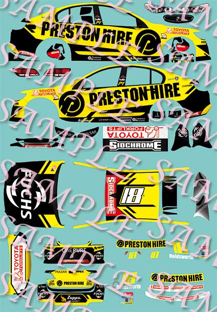The decal sheet as illustrated on Patto's Place website. The livery is more-or-less how the car was presented at the beginning of the season (the design evolved a little during the year and the team ran a split-livery at the Sandown Retro Round).