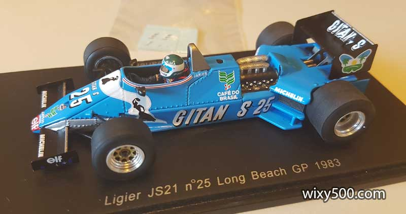 Spark S1795 - Ligier JS21, Jean-Pierre Jarier, 1983 Long Beach GP. Interestingly, Spark applied most of the Gitanes signage on the model, but left all the 'E's off