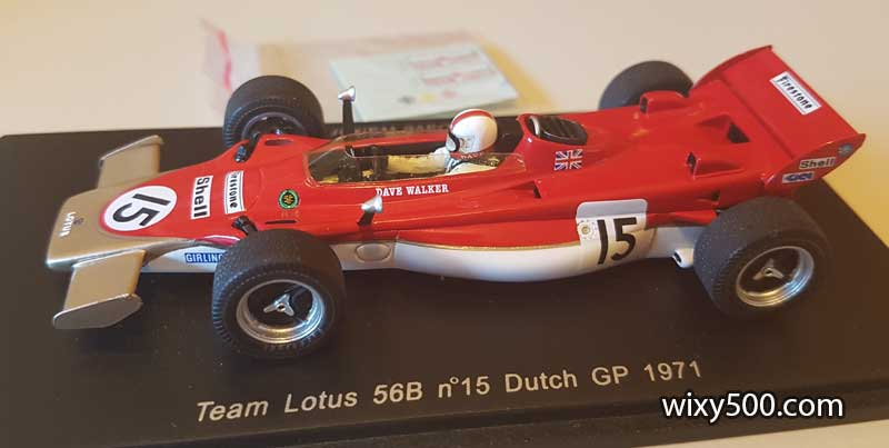 Spark S1764 - 1971 Lotus 56B. This turbine powered handful was driven by little known Australian driver Dave Walker in the '71 Dutch Grand Prix.