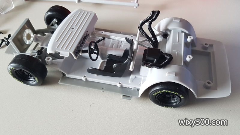 Chassis before the left, right and top bar assembly pieces are clicked in place.