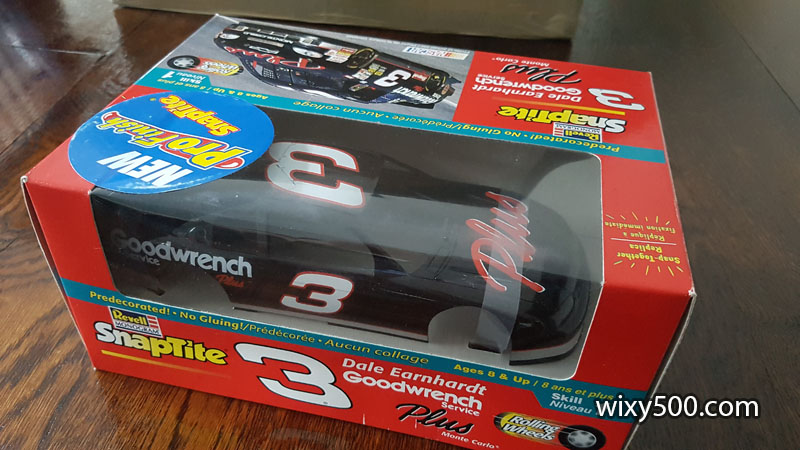 The late Dale Earnhardt's 1998 Goodwrench Chevy Monte Carlo, the 'Plus' version from early in the season. Revell 1/24 scale, pre-painted Pro Finish SnapTite kit.