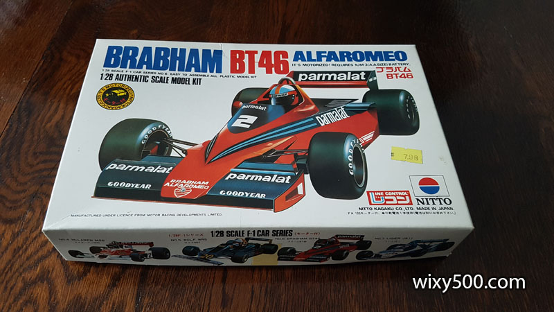 1978 Brabham BT46 Alfa Romeo, John Watson (no Niki Lauda decals). $5 (actually, this one is FREE - there are no tyres in the kit!)